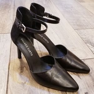 Franco Sarto Black leather & suede heels sz 6